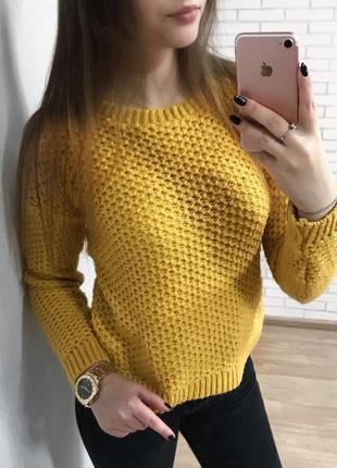 Актуальный горчичный свитер new look вязаный  тёплый