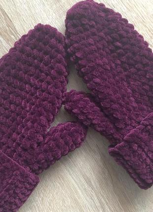 Варежки рукавицы вязаные ручная работа фиолетовые велюр новые handmade теплые зима