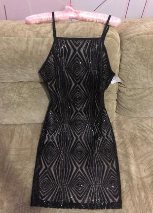 Шакарное платье футляр расшитое в чёрную паетку