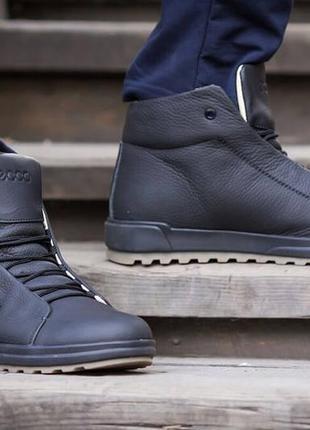 Мужские зимние кожаные ботинки ecco  новинка 2018