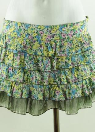 Легкая хлопковая мини-юбка с рюшами zara