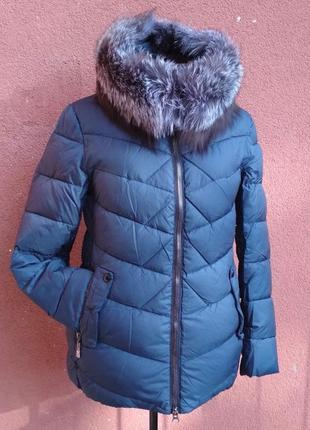 Теплая зимняя куртка, натуральная чернобурка