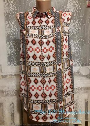 Блуза в орнамент в идеальном состоянии, размер м-л