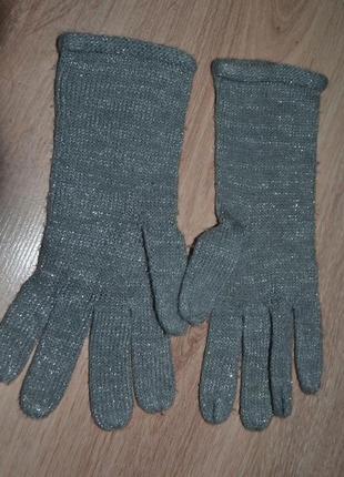 Женские перчатки люрекс нить серебро весна-осень