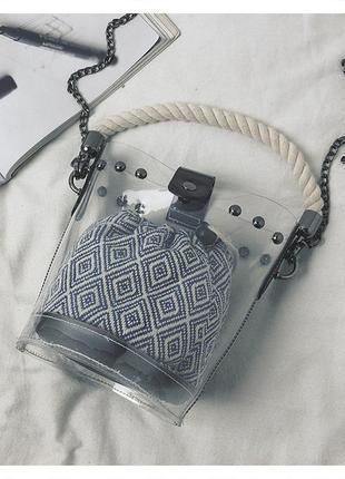 💣стильная сумка клатч прозрачная  силикон на цепочке материал: экокожа продвинутый pu