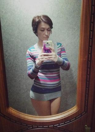 Полосатый свитер (джемпер) с v-образным вырезом
