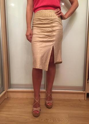 Необыкновенная льняная юбка с золотой нитью и заклепками от miss me s-m