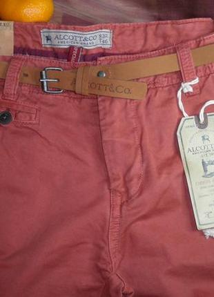 Крутые модные стильные штаны джинсы кораллового цвета alcott s32 t46 ремень в комплекте