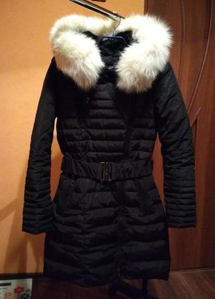 Пуховик пальто куртка зимова з натуральним хутром