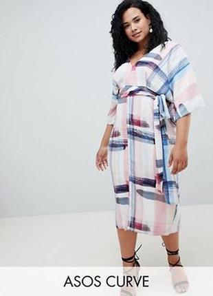 Платье-кимоно миди с абстрактным принтом asos design curve