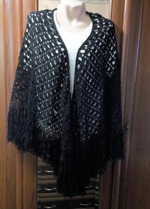 Большая черная шаль платок кири вязаная накидка с бахромой бохо сетка