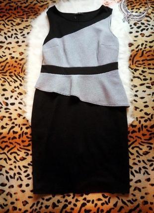 Черное платье миди с баской большой размер плюс сайз батал серое нарядное карандаш