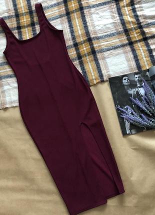 Роскошное платье макси по фигуре с боковым разрезом, очень сексуальное миди, бардо, s/m