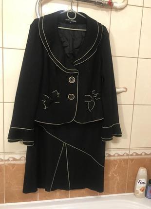 Тёплый шерстяной костюм пиджак юбка костюм шерсть