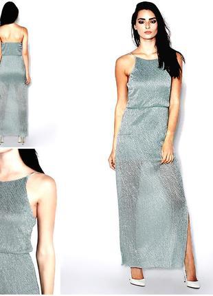 Роскошное переливающееся мятное платье миди
