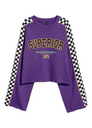 Кофта толстовка фиолетовая спортивная с надписью divided h&m s m l
