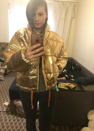 Куртка осень-зима дутая короткая, золото и серебро, 42-46 р