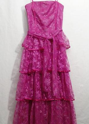 Vera mont, платье миди на бретелях розовое, made in germany