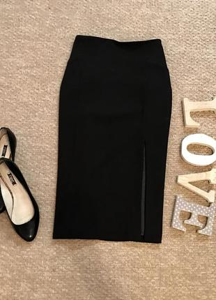 Плотная юбка с разрезом спереди в составе вискоза warehouse