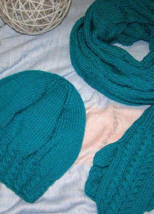 Вязаный набор, шапка, шарф, варежки hand made