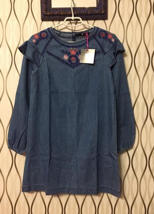 Легкое джинсовое платье с вышивкой v by very, новое!