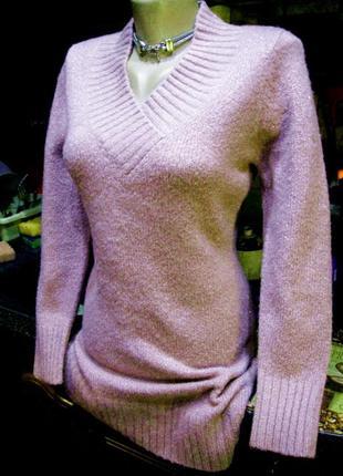 Нежная розовая шерстяная туника платье свитер с люрексом 44-46р.