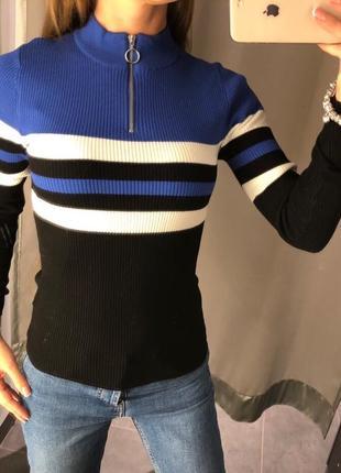 Гольф в полоску amisu водолазка в рубчик свитер лапша есть размеры