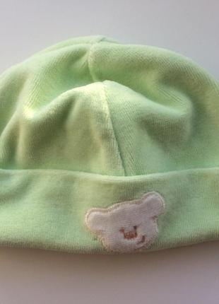 Тёплая шапка на 0-3 месяца