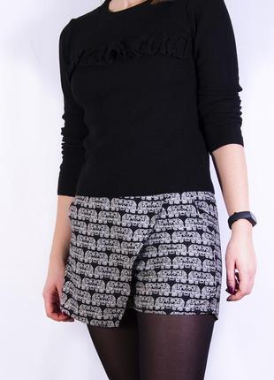 Юбка-шорты с запахом, жаккардовая мини-юбка с запахом atmosphere