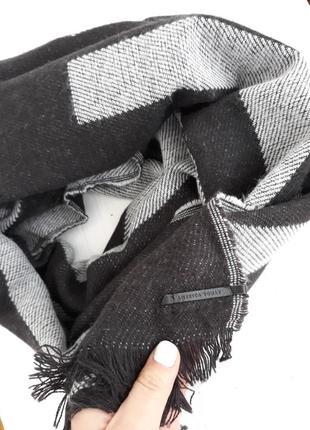 Большой палантин шарф черно-серый america today