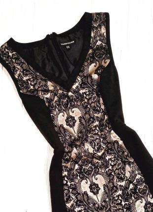 Черное с бежевой вставкой платье-футляр, по-фигуре, коктейльное платье миди от warehouse