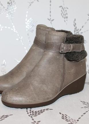 Теплые кожаные ботинки на танкетке от ecco 37 размер 24 см стелька