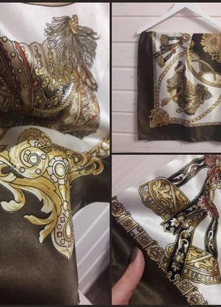 Шикарный платок в платочный принт.хаки.