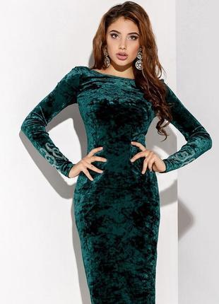 Невероятно красивое платье миди, велюр xc, с, м, л