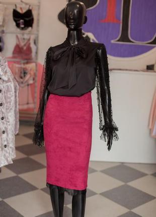 Прекрасная юбка карандаш с кружевом от gepur