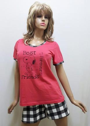 Пижама женская футболка и шорты, домашний костюм, хлопковый
