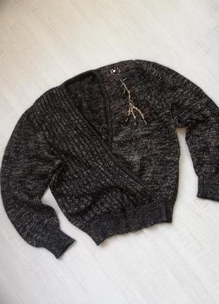 👑 тёплый объёмный свитер из суперкидмохера 👑кофта на запах👑 винтаж