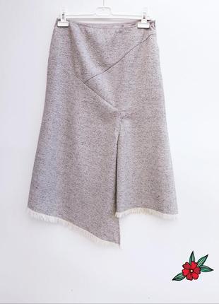 Шерстяная юбка меланжевая юбка с шерстью и шелком