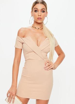 Сексуальное нюдовое вечернее креповое платье с эффектом утяжки открытые плечи missguided