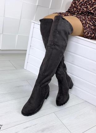 Ботфорты зимние на низком каблуке. размеры с 36 по 40