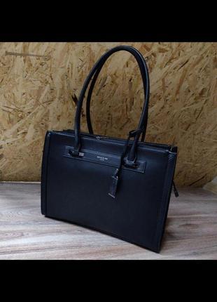 Стильная офисная женская сумка david jones cm3922t black (черный)