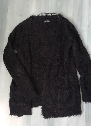 Пушистый свитер травкой - кардиган с карманами atmosphere