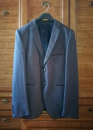 Отличный шерстяной пиджак slim fit в стиле casual pierre carlos, р. хxl/44/52, маломерит