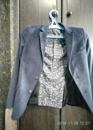 Пиджак велюровый синий
