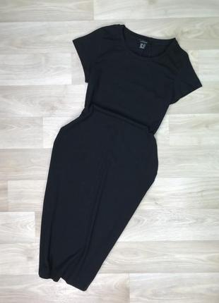 Чёрное платье миди футболка atmosphere