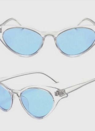Прозрачная оправа голубые линзы очки кошечки лисички имиджевые стильные новинка
