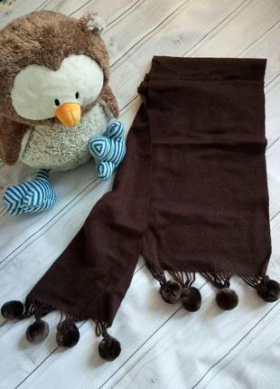 Теплый пушистый шерстяной шарф с бубонами