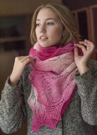 Узорный шарф ручной работы