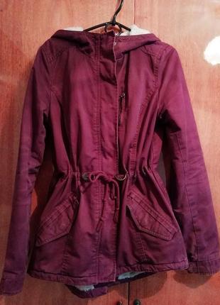 Классная женская бордовая/фиолетовая куртка, парка осень-зима