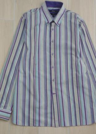 Пог 61 см качественная современная мужская рубашка в полоску !